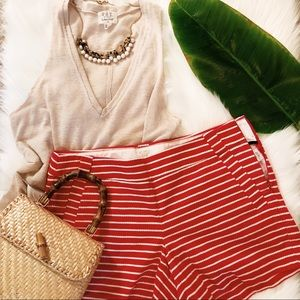 J. Crew Striped Red and White Shorts